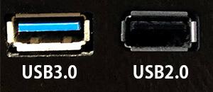 USB3.0とUSB2.0端子の比較