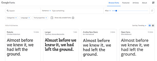 Google Fonts Webサイト