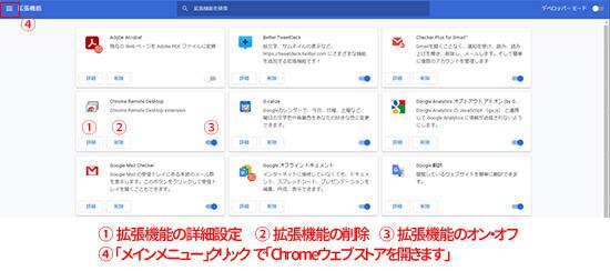 Chromeの「拡張機能管理」